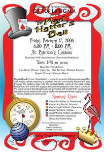 Invitation to Mad Hatter's Ball, Gift of Life Gala. Designed by Michelle Nault