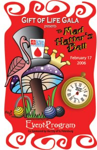 Program Cover for Mad Hatter's Ball designed by Michelle Walker Nault