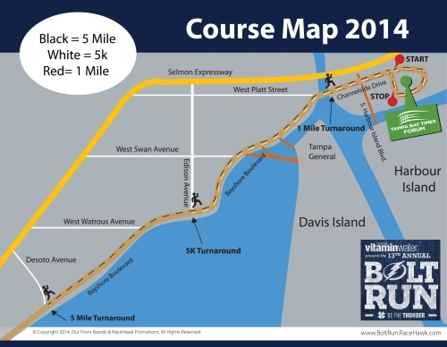 Tampa Bay Bolt Run 2014 Course Map
