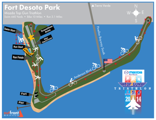 Top Gun Triathlon Course Map